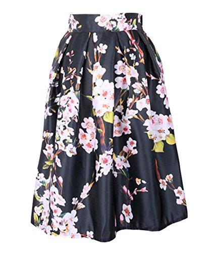 Aoliait Femme Jupe ImprimEs Vintage Jupe Plisse ElGant Jupe A-Line Slim Fit Femelle Skirt Fashion Jupe De Cocktail Beau Jupe Black