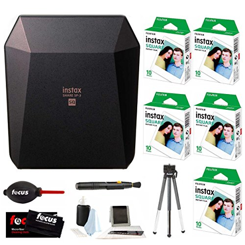 Fujifilm Instax SP-3 Printer (Black) w/ SQ10 Film (50 Exposures) & Accessory Kit by Fujifilm