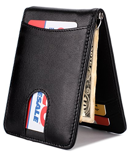 Mens Wallet Slim Leather Front Pocket Wallet Money Clip with Pull Tab Slot and RFID Blocking - Black