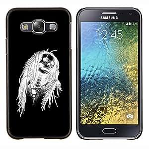 YiPhone /// Prima de resorte delgada de la cubierta del caso de Shell Armor - Negro de Halloween Blanco Cráneo Esqueleto - Samsung Galaxy E5 E500