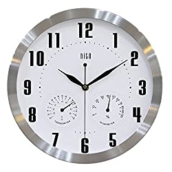 HITO 12 Inches Silent Non-ticking Wall Clock w/ Aluminum Frame, Acrylic Front Cover (T&H-white2)