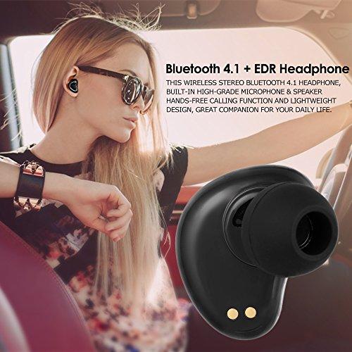 Docooler Auriculares Invisible Bluetooth 4.1 + EDR en el Oido Auriculares de Música Estéreo Manos Llibres para Llamar a los Auriculares para el Teléfono Android IOS con la Caja de Carga Rojo Blanco