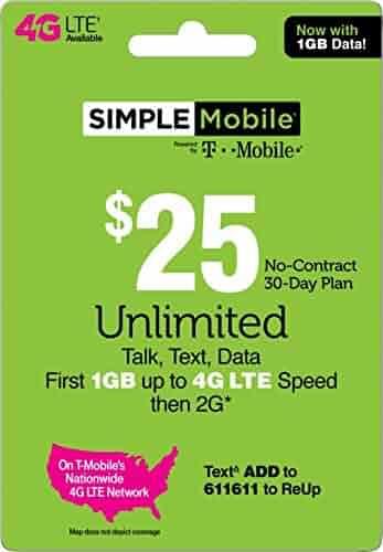 SIMPLE Mobile Refill Card - $25 Refill Prepaid Airtime Card