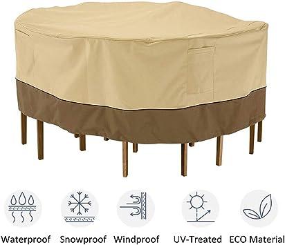 STTC Fundas de Muebles Impermeable, Funda Mesa Redonda Jardín Funda Muebles Patio Terraza Impermeable Tela Oxford Resistente al Desgarro: Amazon.es: Deportes y aire libre