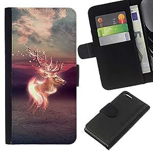 KLONGSHOP // Tirón de la caja Cartera de cuero con ranuras para tarjetas - Psychedelic ciervos - Apple Iphone 5C //