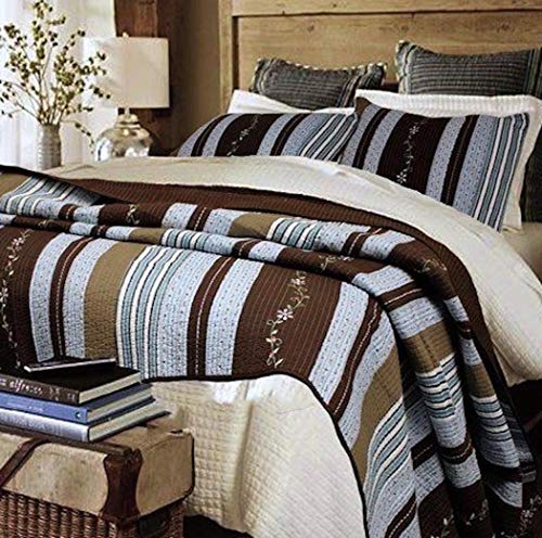 - Finely Stitched Lake House Blue Rustic Resort Walnut Brown Cabin Woods Stripes with Floral Vine Accents Quilt Set - King