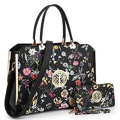 MMK collection Women Fashion Matching Satchel handbags with wallet(6900)~Designer Hobo Purse ~Multi Pocket ~ Beautiful Designer tote Handbag Set (MA-12-6900-W-BKF)