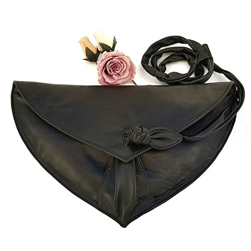 Large Soft Leather Clutch with Black Shoulder Bag by Ganza Design