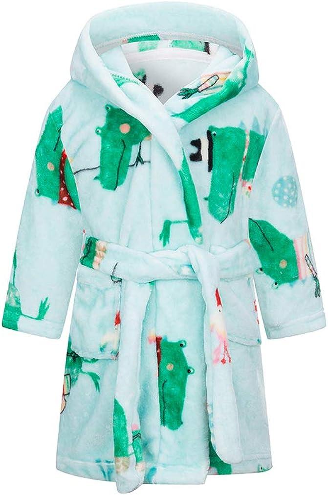 XINNE Boys Girls Soft Bathrobe Cute Pattern Robes Toddler Baby Flannel Hoodie Pajamas Sleepwear