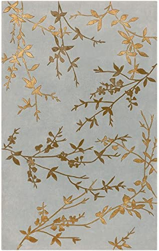 Surya Tamira Transitional Hand Tufted 100 Wool Viscose Dove Gray 5 x 8 Floral Area Rug