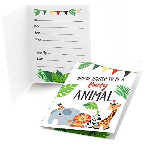 Big Dot of Happiness Jungle Party Animals - Fill in Safari Zoo Animal Birthday Party or Baby Shower Invitations (8 Count) -
