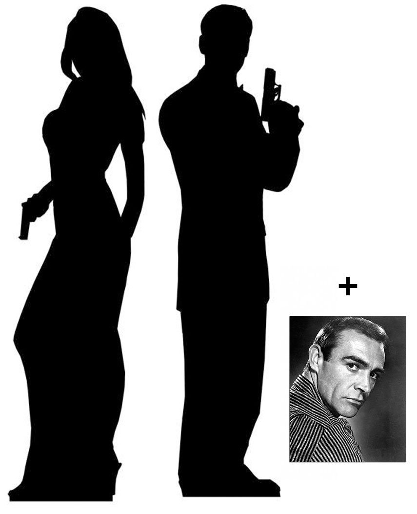 Secret Agent Male / Female - Silhouette Double Pack - Lifesize Cardboard Cutout / Standee / Standup - Includes 8x10 (20x25cm) Star Photo by (Starstills UK) Fan Packs