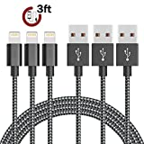 AOFU iPhone Cable,3Pack 3FT Nylon Braided iPhone Cord Lightning Cable Certified to USB Charging Charger for iPhone 7/7 Plus/6/6S/6 Plus/6S Plus/5/5S/5C/SE,iPad,iPod 7 (Black White,3FT)