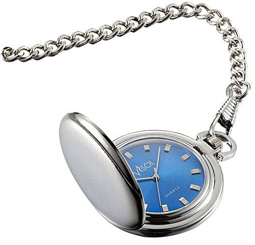 Personalized Visol Lazuli Japanese Quartz Pocket Watch with Free Engraving