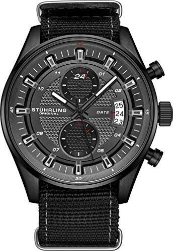 Stuhrling Original Men's Analog Watch - Stainless Steel True Dual Time Zone GMT W/Date Sports Watch - Comfortable, Durable NATO Nylon Strap - 845 Series (Grey/Black) ()
