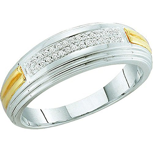0.10 Carat (ctw) Sterling Silver White Diamond Men's Hip Hop Wedding Band Ring by DazzlingRock Collection