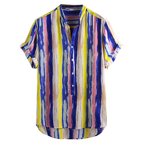 JJLIKER Men's Colorful Striped Henley Shirt Casual Button