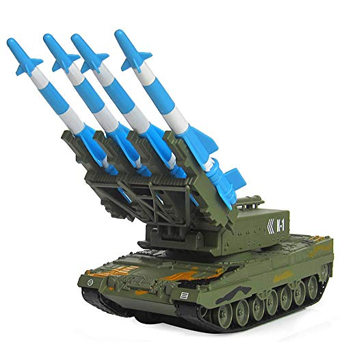 (MCJL RC Tank car, 1:40 Alloy Track Military Tank Model launches Anti-Aircraft Missile car Toy, 360° Rotating Turret, Missile can Launch)