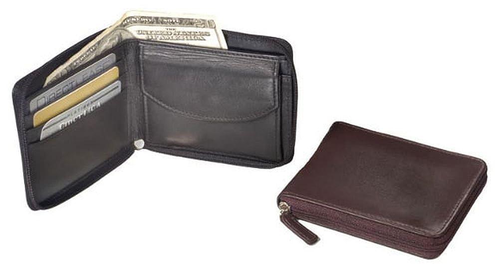 Brown Winn International 6432S Wide Zip-Around Leather Wallet Color