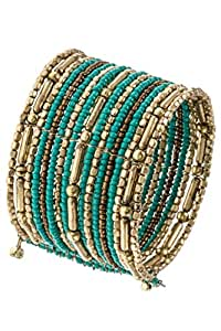 Karmas Canvas Boho Gem Bead and Metal Accent Cuff Bracelet
