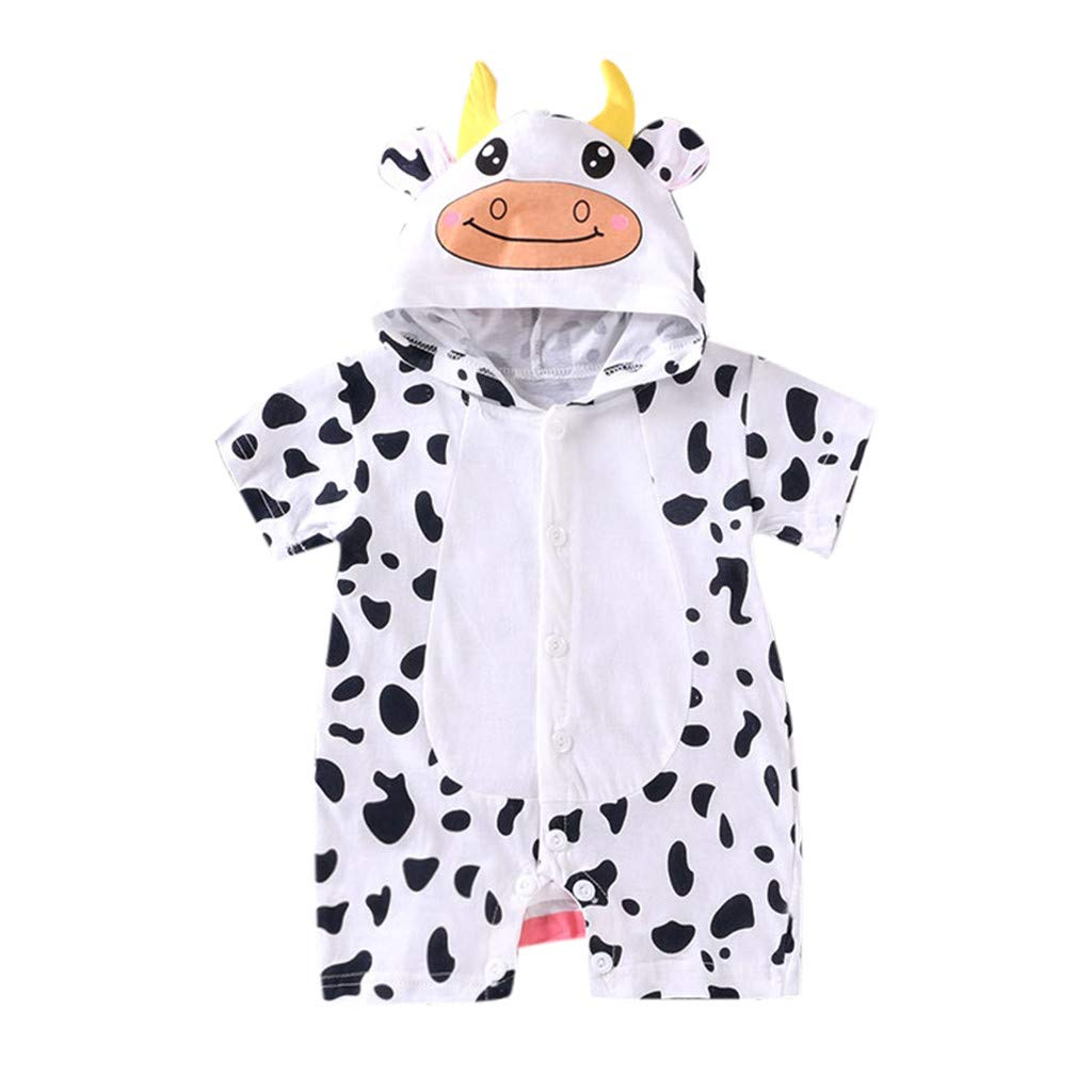 NUWFOR Newborn Baby Boy Girls Cartoon Hoodie Infant Rompers Jumpsuit Outfits Clothes(White,0-6 Months