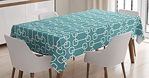 Turquoise Tablecloth by Ambesonne, Minimalist Design Geometrical Squared Rounds Retro Inspired Image, Dining Room Kitchen Rectangular Table Cover, 52 W X 70 L Inches, Petrol Blue and (Squared Round Dining Room Table)