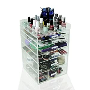 """Houseables Acrylic Makeup Organizer, 6 Drawers, 11x11x17"""", Clear Cube Case, Cosmetic Beauty Storage, Make Up Holder, Vanity Display Box, Bathroom Dresser Jewelry Collection Organizer w/ Top Tray"""
