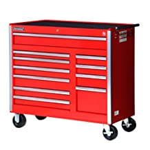 International VRB-4211RD 42-Inch 11 Drawer Red Tool Cabinet with Heavy Duty Ball Bearing Slides