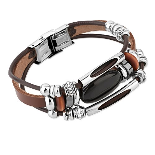 Stainless Steel, Brown Leather, Wood & Black Onyx Gemstone Beaded Wrap Bracelet