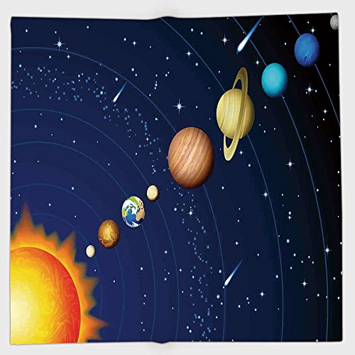 Cotton Microfiber Hand Towel,Space,Solar System with Sun Uranus Venus Jupiter Mars Pluto Saturn Neptune Image,Dark Blue Orange,for Kids, Teens, and Adults,One Side Printing by iPrint