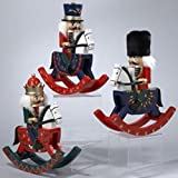Set of 3 Wooden Rocking Horse Soldier Christmas Nutcrackers 9.5""