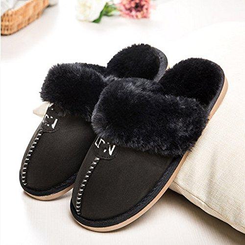 Automne et hiver pantoufles de coton Homme Femme épais base de plancher en bois d'intérieur garder chaude Chaussons d'hiver à la maison ( taille : 40-41 )