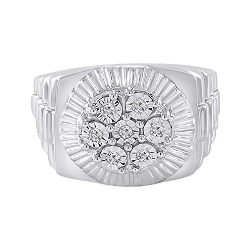 - Trillion Jewels 0.21 CT Round Cut Natural Diamond 14K White Gold Finish Mens Engagement Ring (8)