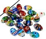 Housweety 50 Mixed Millefiori Glass Lampwork Oval