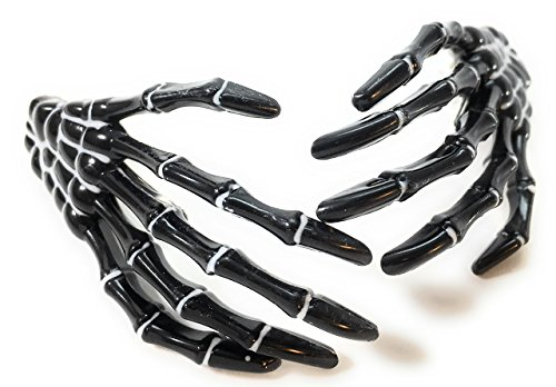 Skeleton Hand Hair Clips - Cute Creepy Scary and Spooky Japanese Pastel Goth Punk Psychobilly Costume Cosplay Accessory - Guaranteed to Give You Chills - Many Colors Available (1 pair) (Black)