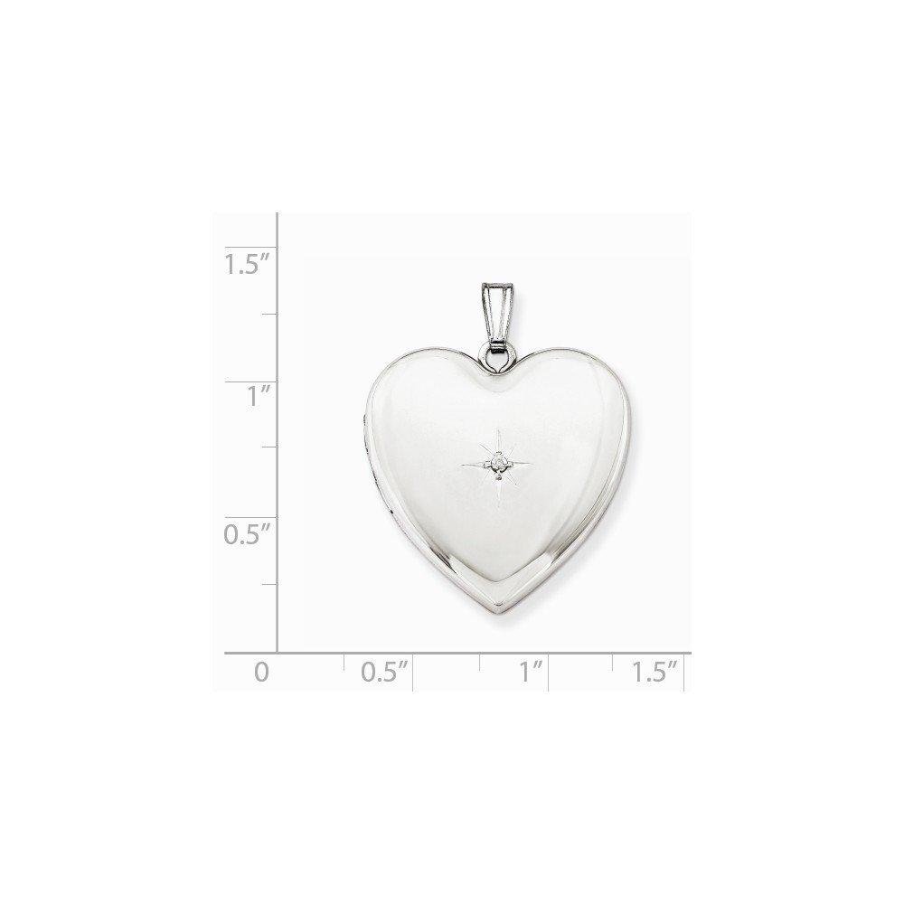 Sterling Silver 24mm with Diamond Star Design Heart Locket