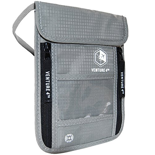 VENTURE 4TH Passport Holder Neck Pouch with RFID Blocking Travel Neck Wallet (Silver)