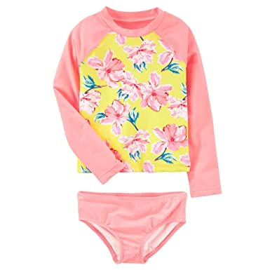 2a5b0456 Baby Girls Two Piece Rash Guard Flower Print Long Sleeve Swimsuit Set  Bathing Suit, Flower