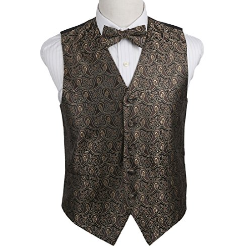 EGE1B08A-2XL Brown Black Paisley Microfiber Vest and Pre-tied Bow Tie Excellent For Designer By Epoint