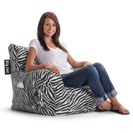 Big Joe Bean Bag Chair | Easily Cleaned, Waterproof Bean Bag Chair (Zebra)