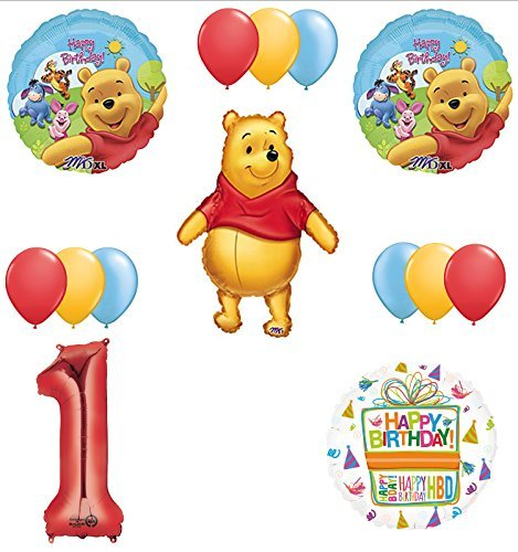 Mayflower Products Winnie The Pooh 1st First Birthday Party Supplies and Balloon Bouquet Decorations