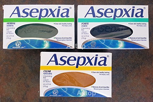 Asepxia Herbal + Clear + Forte Soaps Cleansing Bars Combo. Removes Oil & Impurities (3 Pack).. Astop by Astop.