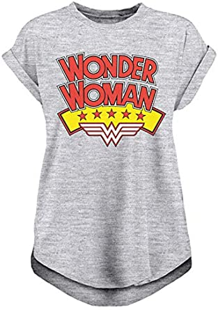 Official Womens Dawn of Justice Wonder Woman Logo Red Fitted T-Shirt DC Comics