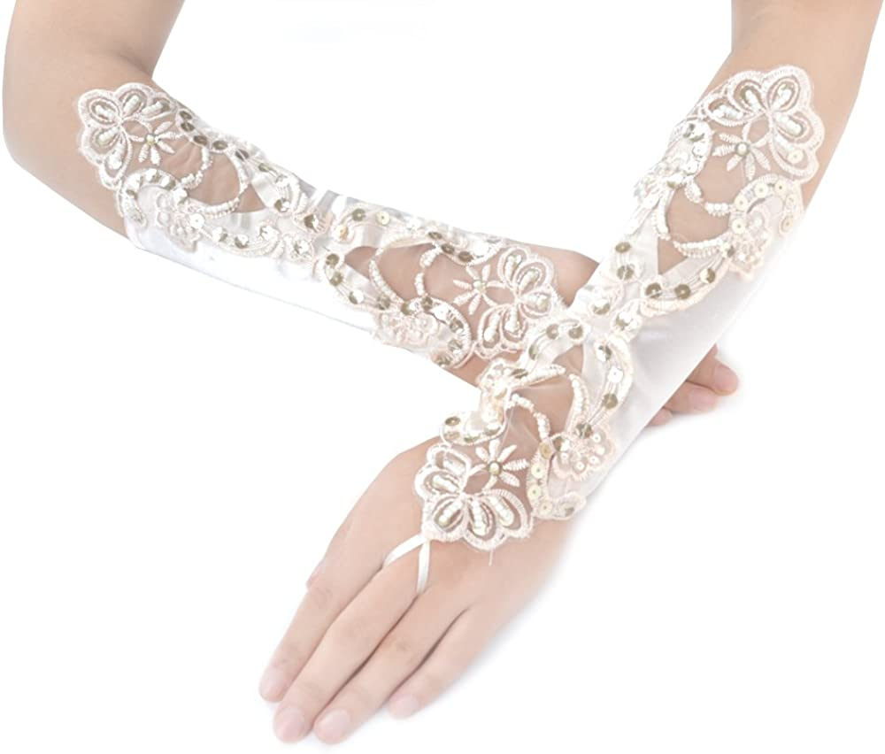 JISEN Women 1920s Fingerless Gloves Lace Embroidered for Banquet Party Elegant Bridal 11 Inch