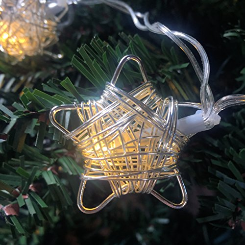 The Stunning Fine Filigree Double Wrapped LED Stars, String Lights, Silver Plastic Coated Wire, Battery Pack with Switch, 47 ¼