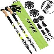 FitTrek Trekking Poles - Hiking Poles Cork - Walking Poles Telescopic - Lightweight Trekking Stick for Women,