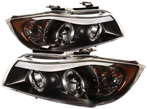 Spyder Auto PRO-YD-BMWE9005-AM-BK BMW E90 3-Series 4-Door Black/Amber Halo Eyebrow Projector Headlight with Replaceable Eyebrow Bulbs