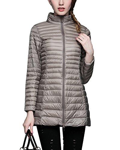 ZhuiKun Down Jacket Women Long Packable Down Puffer Coat Lightweight Outwear Camel