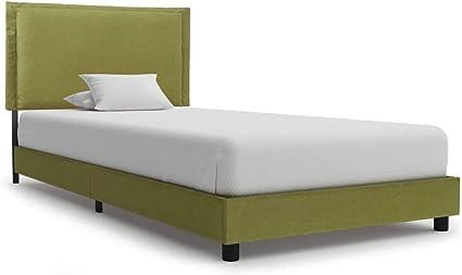 vidaXL - Cama tapizada clásica de tela, cama individual ...