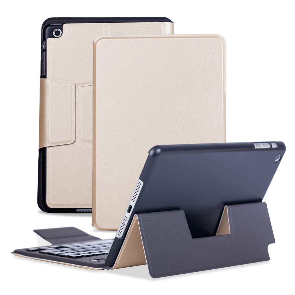 有名ブランド iPad Mini 2ケース キーボード スタンド付き レザー 保護フリップ スマート 取り外し可能 レザー ワイヤレス Bluetooth キーボードカバー iPad Mini 3/2/1用 スタンド付き ユニークな磁気充電 スリム 超薄型 保護フリップ ビジネススタイル ゴールド B07KZSJG7F, Cherie La'pain:37f57c53 --- a0267596.xsph.ru